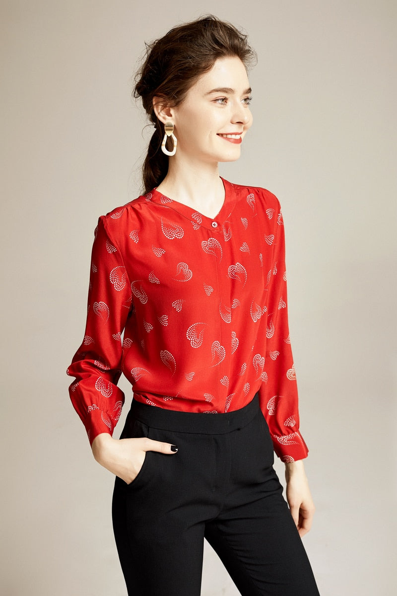 100% Pure Silk Women's Runway Shirt Sexy V Neck Printed Long Sleeves Elegant Spring Summer Shirt Blouse - Source Silk