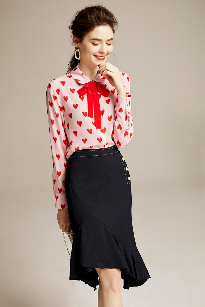 Chic Heart Patterned Blouse