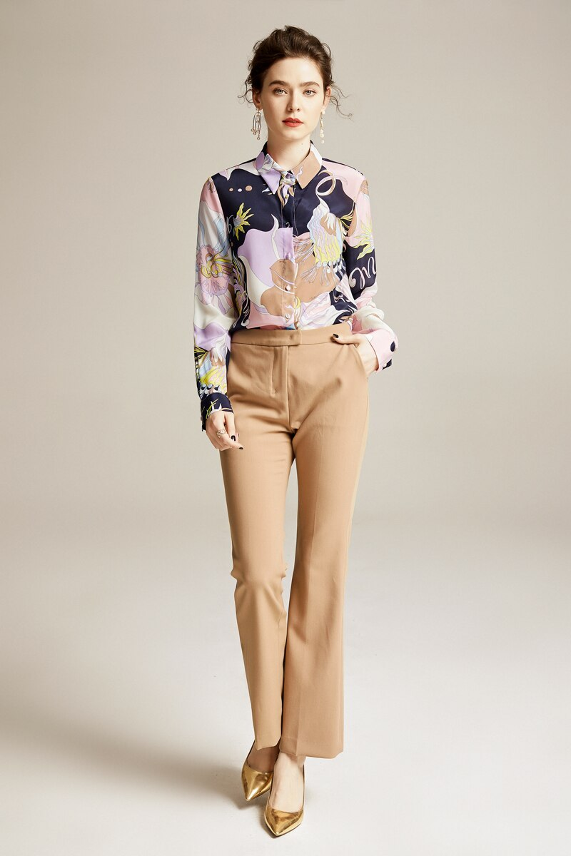 100% Pure Silk Women's Runway Shirts Turn Down Collar Printed Long Sleeves Elegant New Fashion Shirt Blouses