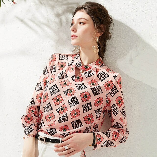 Women 100% Natural Silk Tops Blouses Elegant Fashion Vintage Flora Print Long Sleeve Loose Pure Real Silk Lady Shirt Blouse - Source Silk