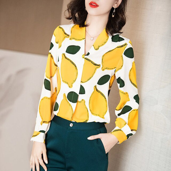 Elegant Lemon Graphic Blouse - Source Silk