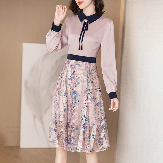 Women Fashion Print Dresses Elegant Turn-down Collar Long Sleeve Sweet Bow Patchwork Office Lady A-line Dress Spring Autumn - Source Silk