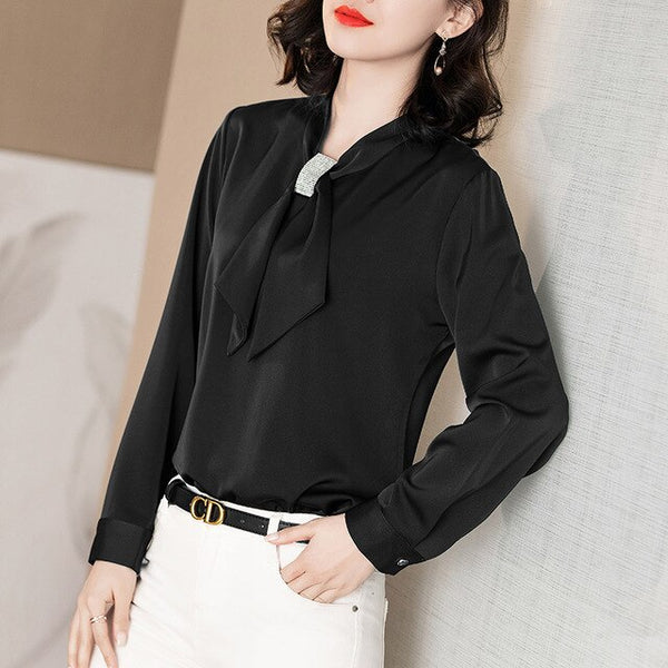 Turndown Collar Full Sleeved Blouse - Source Silk