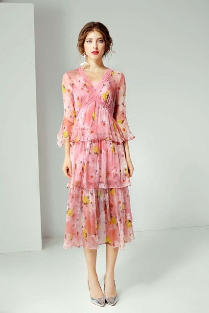 Women's 100% Silk Dresses Sexy V Neck 3/4 Sleeves Tiered Ruffles Floral Printed Natural Silk Summer Dresses - Source Silk