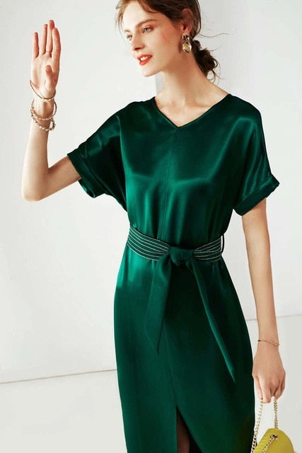Women's Dresses V Neck Short Sleeves Loose Design Sash Belt Split Fashion Casual Summer Dresses - Source Silk