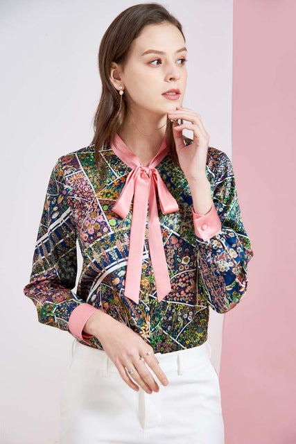 Women's Silk Runway Shirt Bow Collar Floral Printed Long Sleeves Fashion Blouse Shirt - Source Silk