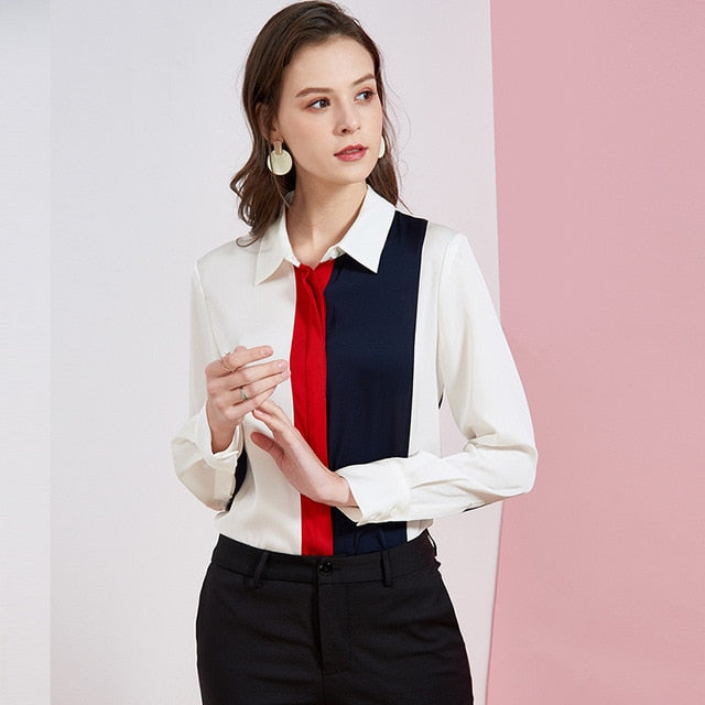 Women's Silk Shirt Turn Down Collar Long Sleeves Color Block Fashion Elegant Blouse Shirt - Source Silk