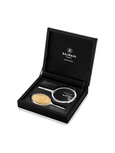 Balmain Hair Couture limited edition Silver spa brush and hand mirror set
