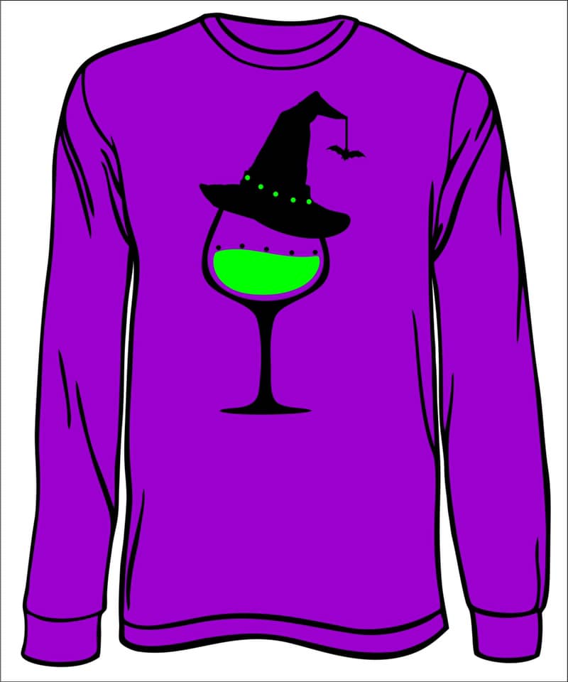 Witch Wine Glass Long Sleeved T-Shirt 2X-4X