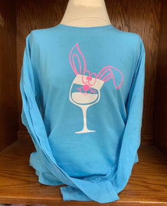 Bunny Wine Glass Long Sleeved T-Shirt SM-XL