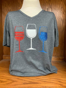 RED WHITE BLUE Wine Glass Soft Style T-Shirt SM-4X