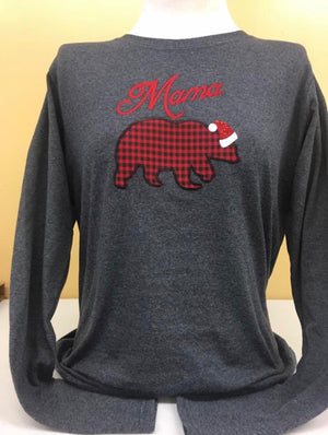 Santa Mama Bear Long Sleeve charcoal t-shirt sm-4x