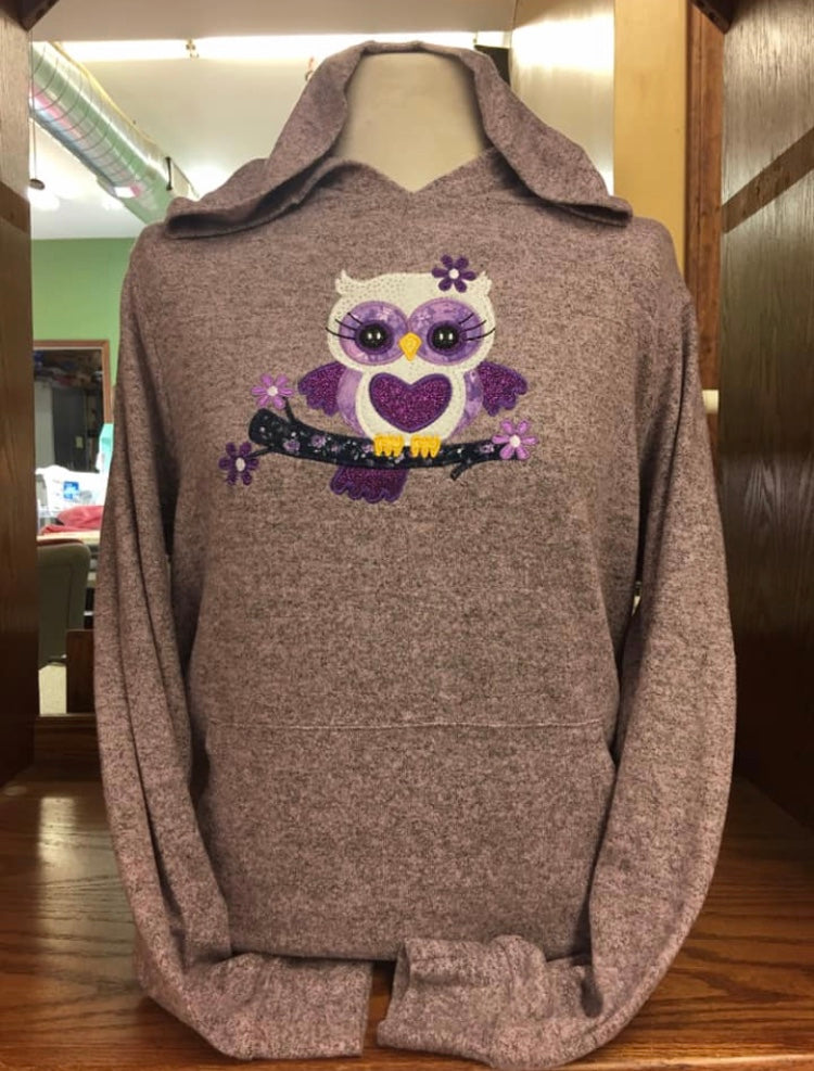 Rose Quartz Purple Owl Sweater SM-4X