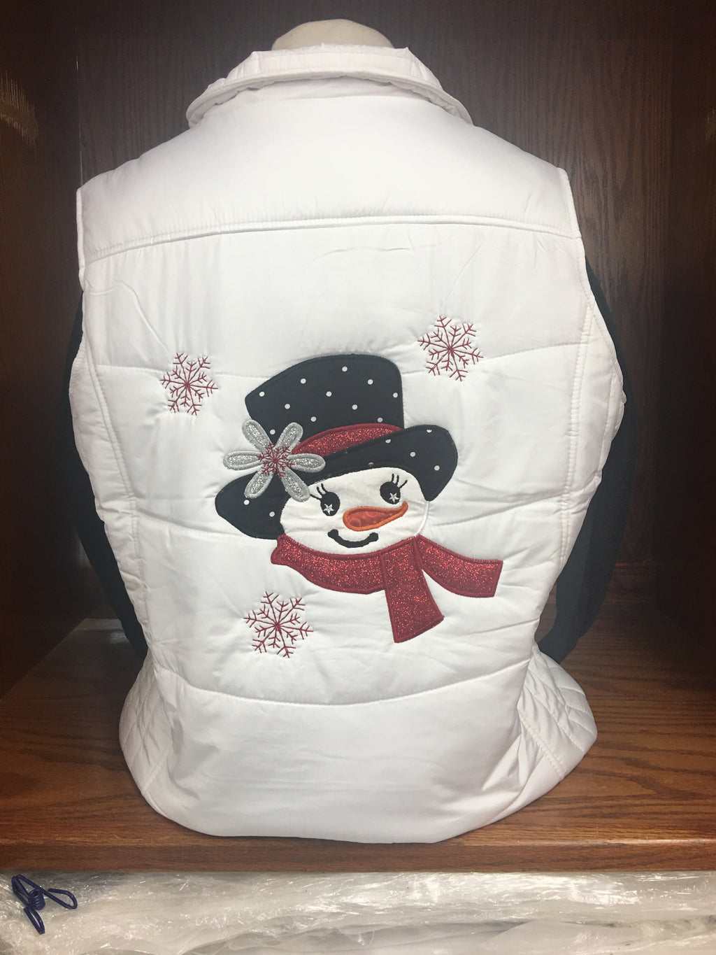 White Quilted Snowman Vest (RED) 2X-4X
