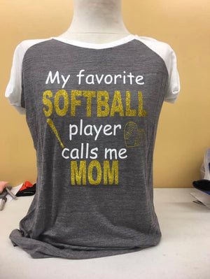 STRIPED SLEEVE T-SHIRT SOFTBALL Mom SM-4X