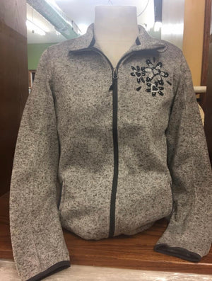 Zip Jacket Grey/Black Flower Sm-4X