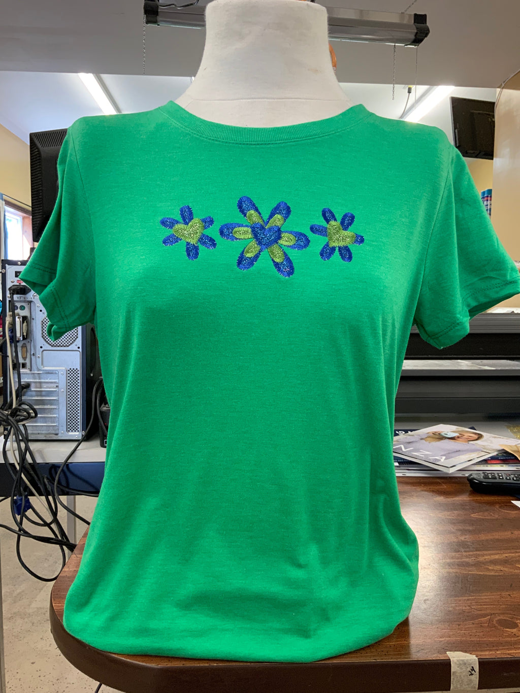Green/Blue glitter short sleeve t-shirt flower SM-4X