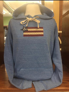PULLOVER HOODIE WHITE TIES  LIGHT BLUE Flag SM-4X