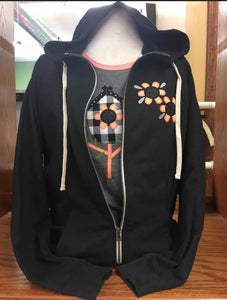 Black/Peach flower Zip Hoodie 2X-4X