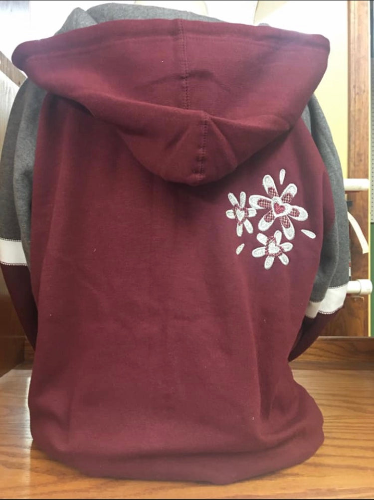 Deep Red/Grey Zip Hoodie 2X-4X