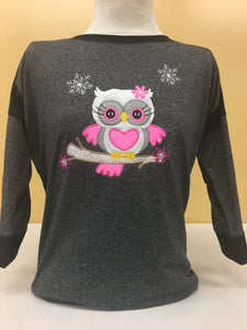 Black/Grey 2Tone Snow Owl 3/4 Sleeve 2X-4X