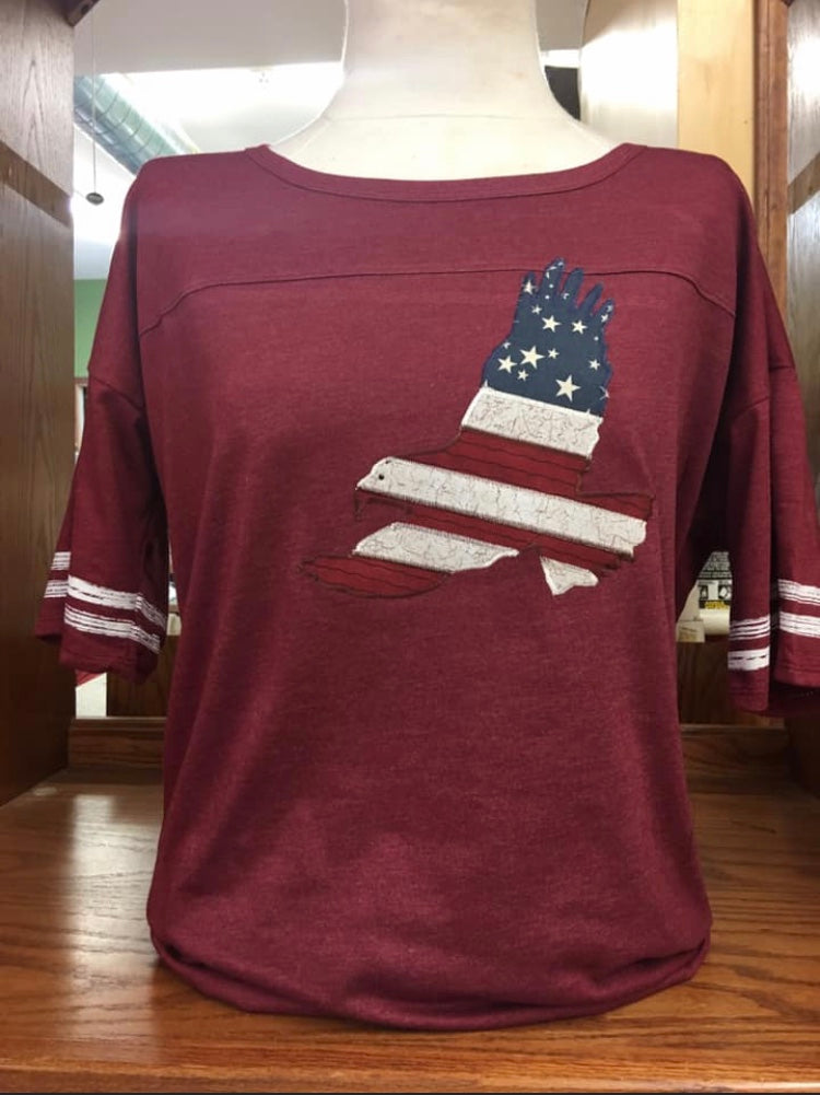Deep Red flag Eagle score card short sleeve T-Shirt SM-4X