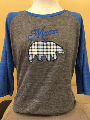 Royal/Grey 3/4 Sleeve Mama Bear 2X-4X