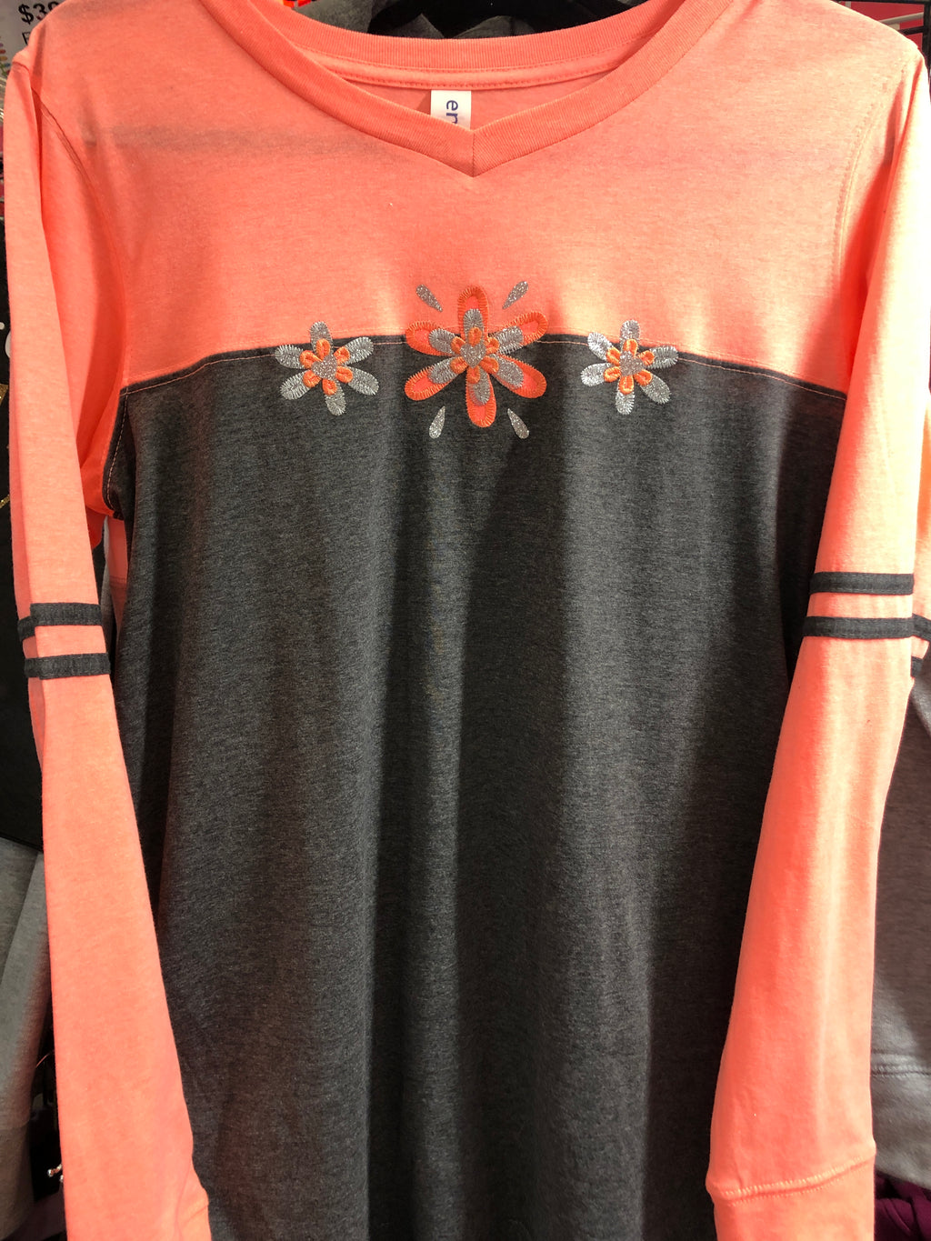 Peach Sparkle Long Sleeve T-Shirt 2X-4X