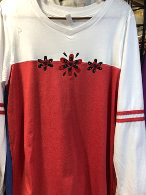 Red Sparkle Long Sleeve T-Shirt SM-XL