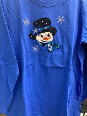 ROYAL BLUE  SNOWGIRL LONG SLEEVE T-SHIRT SM-XL