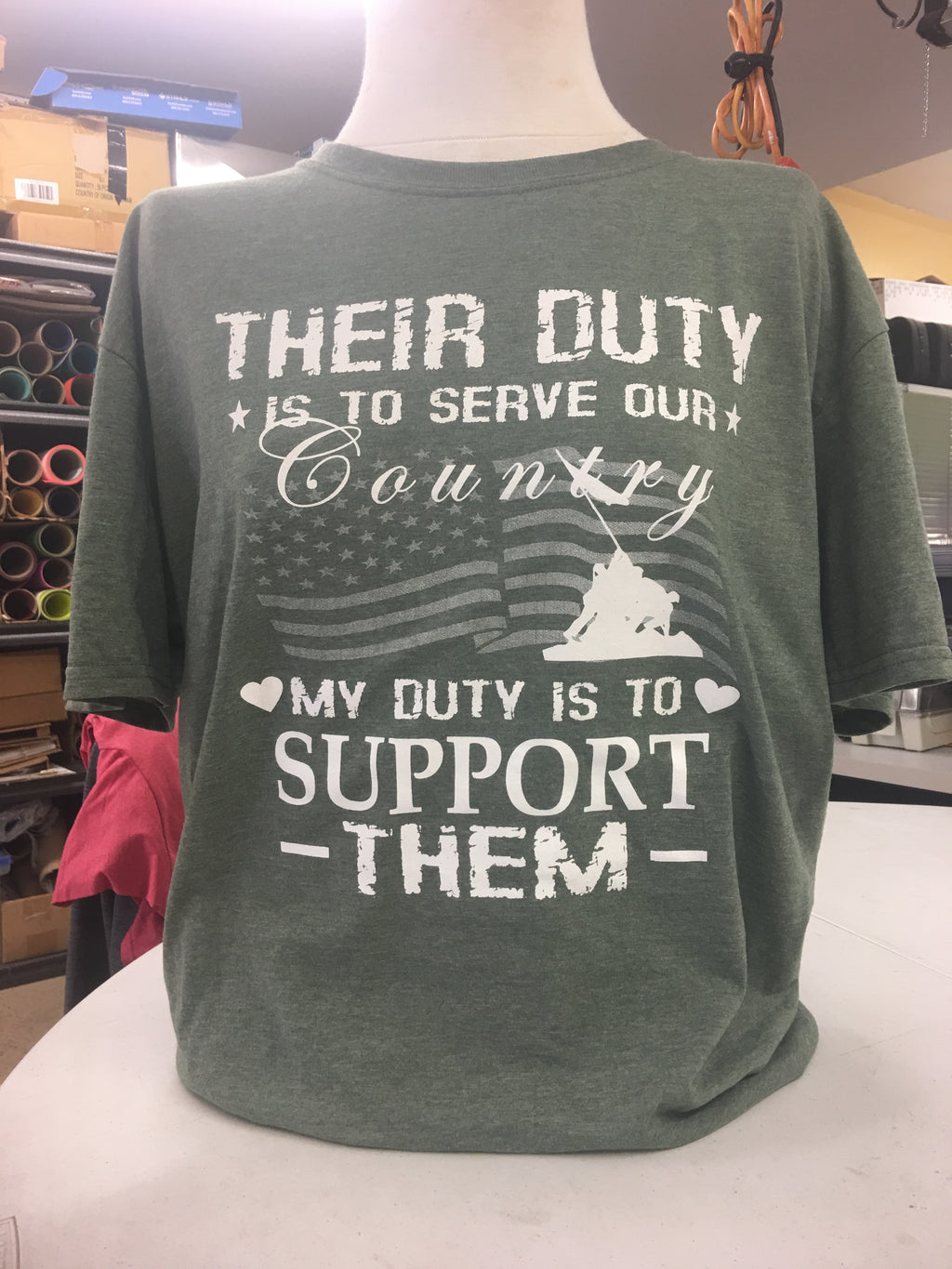 Our Duty Military T-Shirt Green 2X-3X