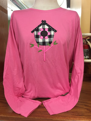 PINK BIRD HOUSE LONG SLEEVE T-SHIRT SM-XL