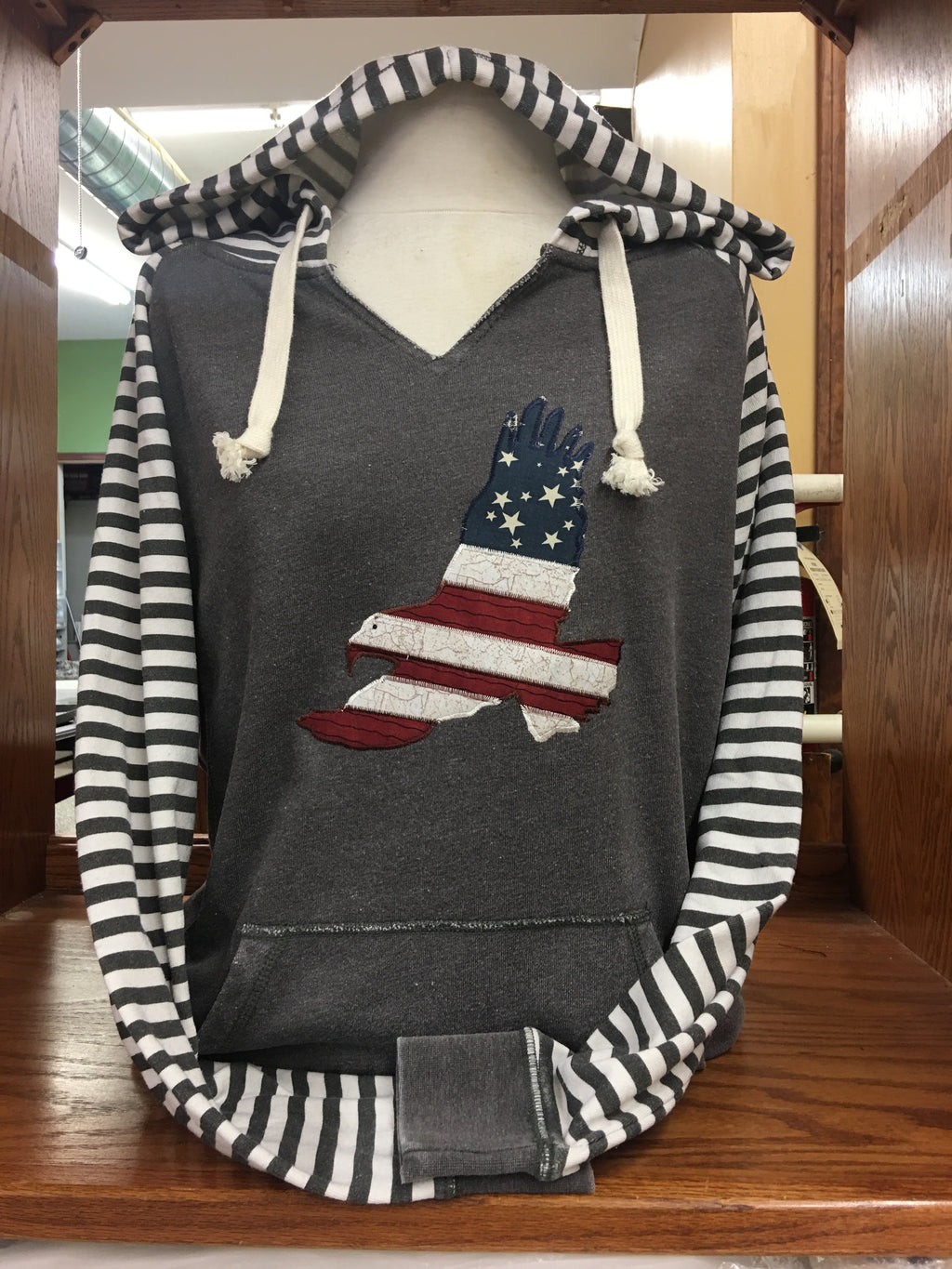 Full Striped Sleeved V Hoodie Patriotic SM-4X