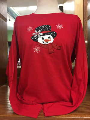 RED SNOWGIRL LONG SLEEVE T-SHIRT 2X-4X