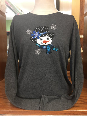 Charcoal Snowgirl(BLUE) Long Sleeve T-Shirt SM-XL
