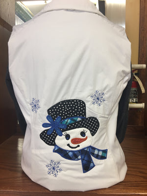 White Long Fitted Vest Snowgirl (Blue )2X-4X
