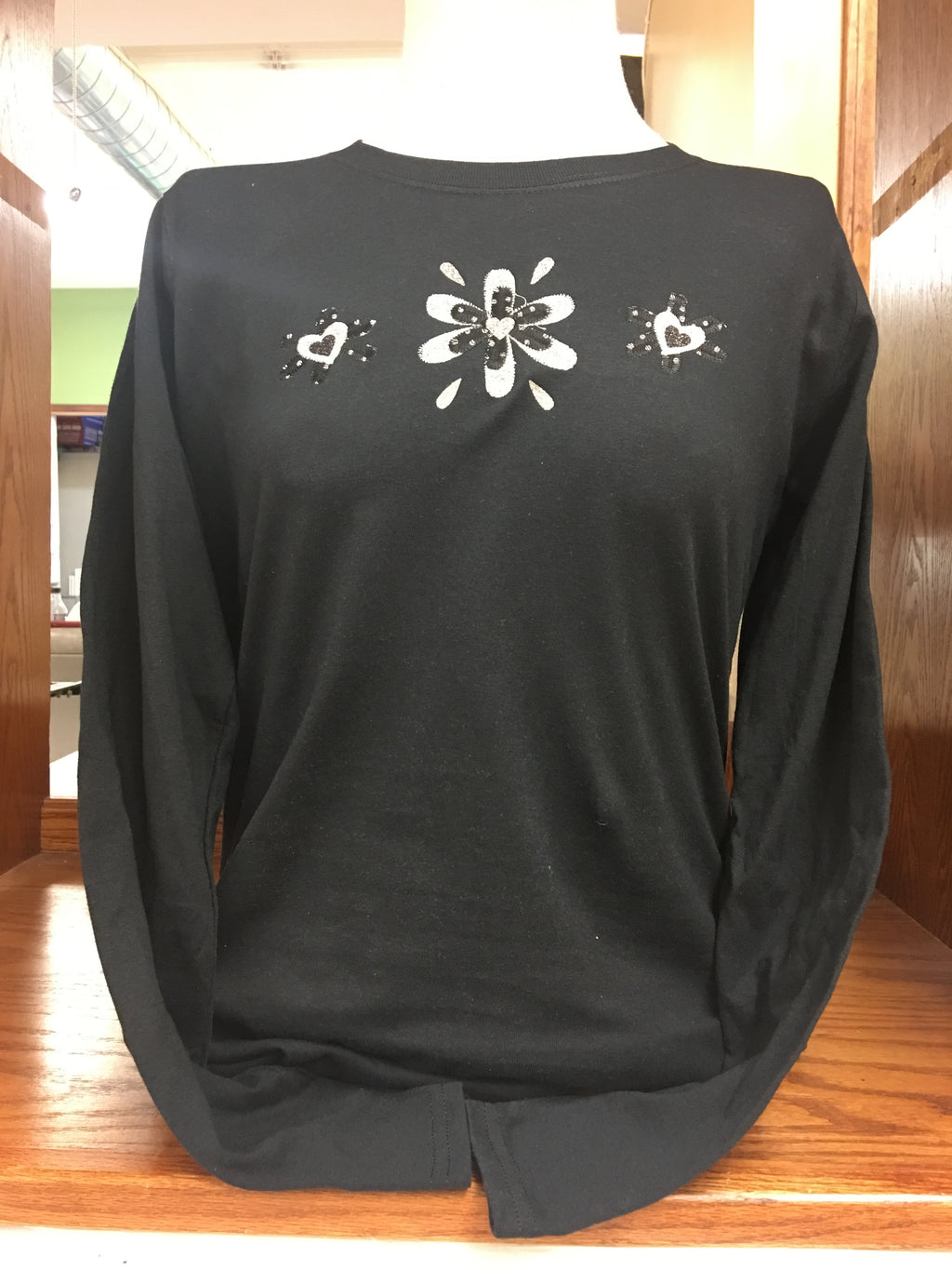 BLACK SPARKLE FLOWER  LONG SLEEVE T-SHIRT 2X-4X