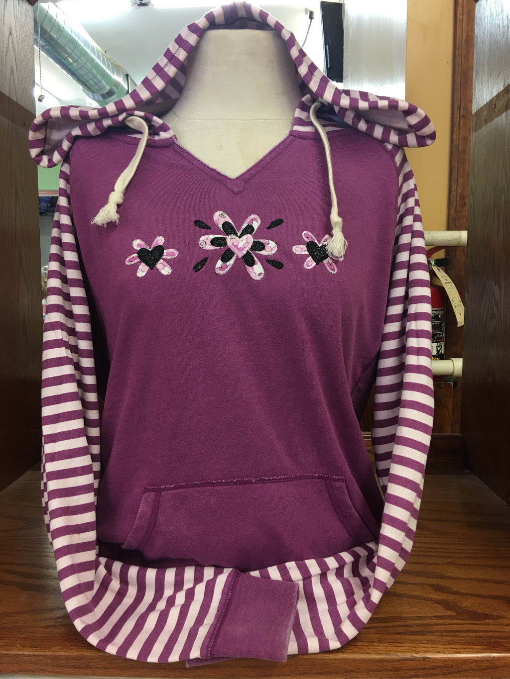 Full Striped Sleeved V Hoodie Flower Sm-4X