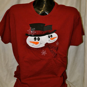 Short Sleeve Red Snowman T-Shirt Sm-XL