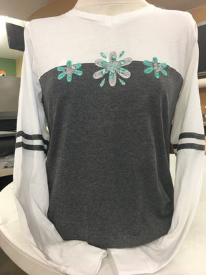 Teal Sparkle Long Sleeve T-Shirt 2X-4X