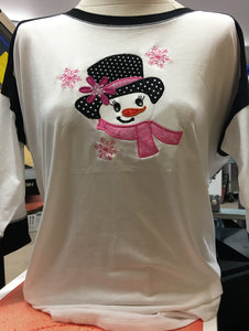 White/Black 2Tone Snowgirl 3/4 Sleeve SM-XL