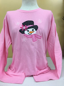 Pink Snowgirl Long Sleeve  T-Shirt 2X-4X