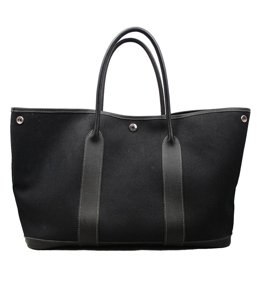 Hermès Shopper Garden Party in canvas e pelle nera