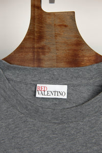 RED VALENTINO T-shirt grigia stampa scritta rosa - Tg. 42