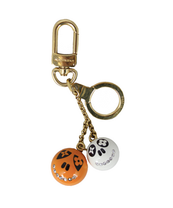 "Louis Vuitton Charm ""Jack and Lucy"" arancio e bianco con strass"