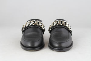 Givenchy Sabot mocassino in pelle nera con catena - N. 36
