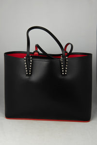 Louboutin Shopper in pelle saffiano nera con graffiti LOVE