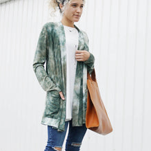 Load image into Gallery viewer, Tie-Dye Long Sleeve Ribbed Open Cardigan w/ side pockets
