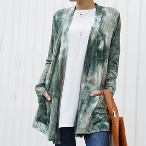 Tie-Dye Long Sleeve Ribbed Open Cardigan w/ side pockets