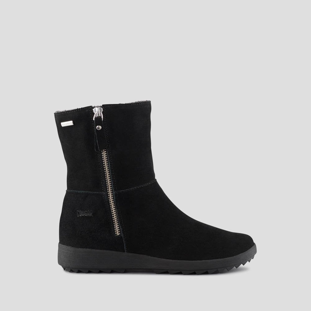 The Side Zip Boot with Knit Lining in Black